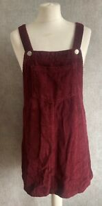 Womens Size 12 Wine Red Dungaree Pinafore Dress Cord Style Matalan Winter