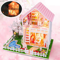 DIY Doll House LED Light Box Cabin Miniature Wooden Cherry Tree Kids Toy Gift