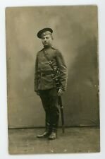 Vintage Real Photo Postcard RPPC Handsome solider in military uniform.