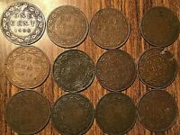 LOT OF 12 CANADA LARGE CENTS EDWARD LOT OF 12 COINS