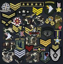 More details for military embroidered iron on or sew on patch (pk22) badge army navy airforce