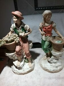 "VINTAGE1975 UNIVERSAL STATUARY BOY #823 & GIRL #821 FIGURINES 13 1/2"" Tall"