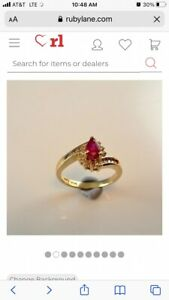 vintage 14k gold ruby and diamond rings