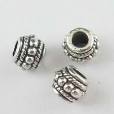100pcs Tibetan Silver Round Dots Spacer Beads Charms 8x6mm ZN771
