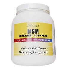 Pro Natural MSM Methylsulfonylmethane 2000g Powder Organic Sulphur Vegan