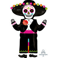 HALLOWEEN DAY OF THE DEAD FOIL BALLOON PARTY DECORATION FIESTA MEXICAN SKELETON