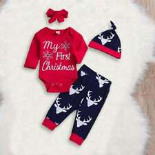 My First Christmas Baby Boy/Girl, Romper/Pants/Hat/Headband Outfit
