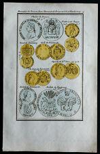 1830 - Gravure numismatique : Monnaies de Prusse,Saxe,Danemark,Hambourg ...