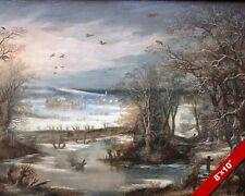 TERVUREN BELGIUM WINTER SNOW COVERED LANDSCAPE PAINTING ART REAL CANVAS PRINT