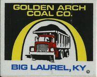 Golden Arch Coal Co. Big Laurel KY Vintage Unused Mining Hard Hat Decal Sticker