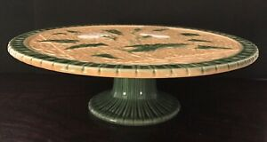 "Bordallo Pinheiro Majolica Morning Glory 12"" Cake Stand, Yellow, Green, White."