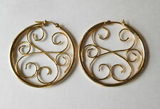 18 k YG Hoops earrings curls open work 32mm  I-7521