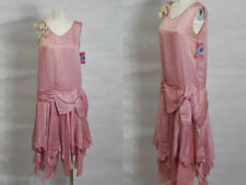 1920s French Art Deco Vintage Rose Pink Silk Satin Dress