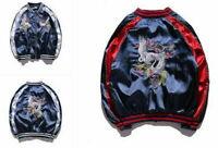 Mens Womens Hot Unisex Sukajan Jacket Coat Premium Embroidered Bomber Outerwear