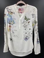 Desigual Womens XS Shirt Ivory Graphic Print Love Lips Butterflies Floral
