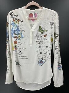 Desigual Womens XS Shirt Ivory Graphic Print Love Lips Butterflies Floral