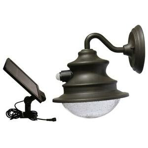 Barn Solar Brown Outdoor Integrated LED Wall Light Sconce with Motion Sensor