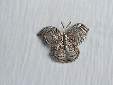 Vintage 800 Silver Filigree Butterfly Brooch Pin Jewelry (ab226)