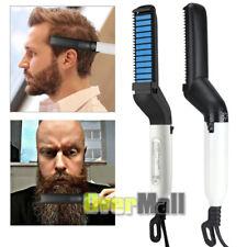 Men's Quick Beard Straightener Multifunctional Hair Comb Curling Curler Blue New