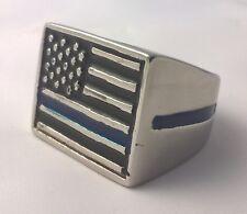 G-Filled 18k white gold CHUNKY American Flag Men's ring USA 12 Stars Stripes 27g