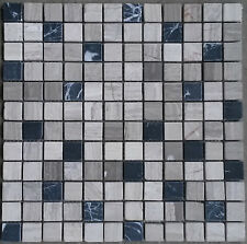 Mosaic Marble Stone Tiles Floor Wall Grey / Black Mix Bathroom 30x30 cm M570 NEW