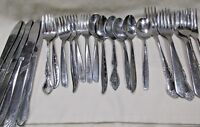Lot of 24 Mismatched Stainless Steel 6 Each Knives Spoons Dinner & Dessert Forks