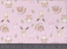 Pink Woodland Creatures Flannelette Fabric 108cm Wide (per metre)