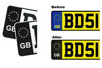 3x CARBON Stickers for UK GB License Plate Decals Side Field EU Badge Black