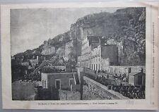 1889 FRANA DI POSILLIPO PRIMA DEL CANNONEGGIAMENTO Illustrazione Popolare Napoli