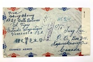 1943 WWII Opened By Examiner Censorship Covers Venezuela To Canada 458C