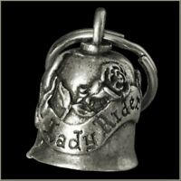 Pewter Motorcycle Gremlin Bell Lady Rider Rose Flower Made in USA
