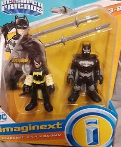 DC super friends imaginext Black Bat and ninja Batman figure set of 2 and sword