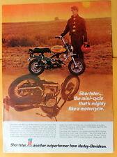 Vintage Magazine Print Ad 1972 Harley-Davidson Shortster mini-cycle