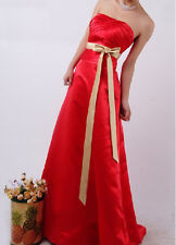 RED SATIN BRIDESMAIDS/EVENING/WEDDING/PROM DRESS BALLGOWN SIZE 10 Bargain