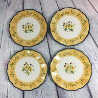 """4 Amscan Ceramic Salad Plates w Raised Floral Design in Center - 8.25"""""""