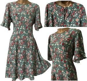 NEXT Womens Spring Sage Green Floral Frill Sleeve Pleat Tea Skater Dress 10 - 26
