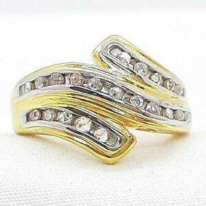 .50ctw H-SI Diamond 14K Yellow Gold 925 Sterling Silver Cocktail Ring Size 7.25