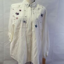 NEW Vintage NAPA Valley Shirt Button L Blouse Semi Sheer Stars Red White Blue