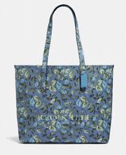 NWT - $198 COACH Highline Tote Blue Floral Print Slate/Sleeping Rose w/Silver