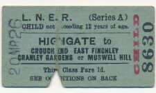 LNER - HIGHGATE to EAST FINCHLEY/MUSWELL HILL etc railway ticket - 20 MAR 26