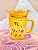 "NEW! Rae Dunn ""#1 MOM"" w/ Sunflower Topper Yellow Mug Mothers Day 2021 🌻🌻🌻"