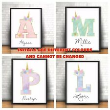 A4 Personalised Unicorn Print ANY Name & Initial Gift Pastels Unicorn NO FRAME