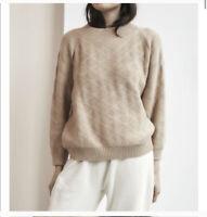 Wol Hide Small/Medium Biege Pullover Mock Neck Sweatshirt Sweater