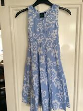 Mini Boden Pale Blue & White Floral Long Dress Size 9-10 Years