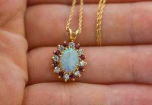 2.10 Ct Oval Fire Opal, Ruby & Diamond Halo Women's Pendant 14k Yellow Gold Over