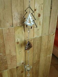 Metallkette Tanne mit Teelichthalter, edle Hängedekoration Silber ca. 100 cm