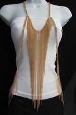New Women Gold Long Body Chain Front Fringes Hip Sides Fashion Necklace Jewelry