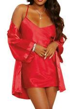 Dreamgirl Red Satin Slip & Robe Set Size 14 - 16 Nighty & Wrap Gown Sleepwear