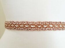 Wedding Sash Belt - ROSE GOLD Crystal Wedding Dress Sash Belt = 19 inch long