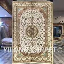 Yilong 4'x6' White Handmade Carpets Hand Knotted Medallion Silk Area Rug W234C